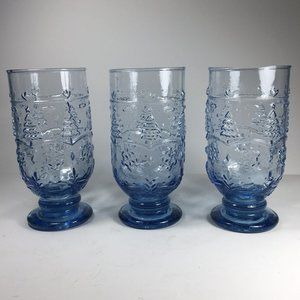 Light Blue Embossed Glass Footed Water Goblets